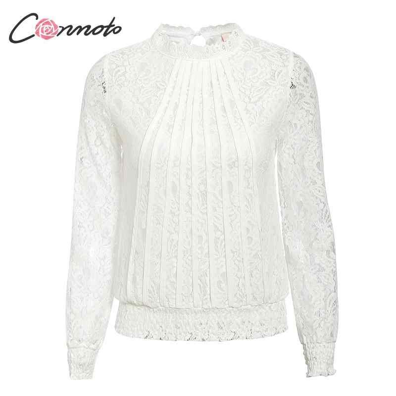 Conmoto Moda Beyaz Dantel Kadın Üstleri ve Bluz 2019 Sonbahar Vintage Nakış Hollow out Ofis Bayan Gömlek Artı Boyutu Blusa
