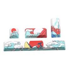 PBT Five sides Dye-subbed keycap Space bar 6.25U ESC Entre keys OEM profile Coral Sea keycaps