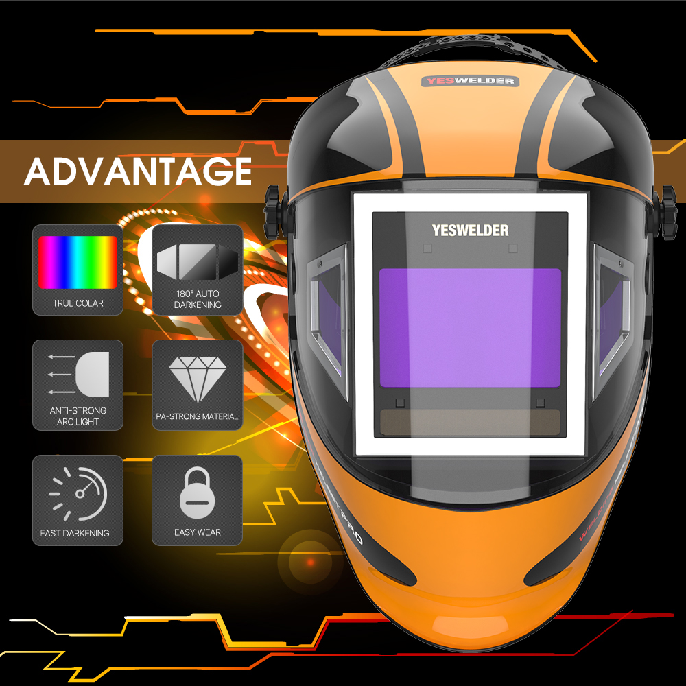 YESWELDER True Color Welding Helmet With Auto Darkening Side View, 180° View Filter Welding Mask Highest Optical Welding Hood