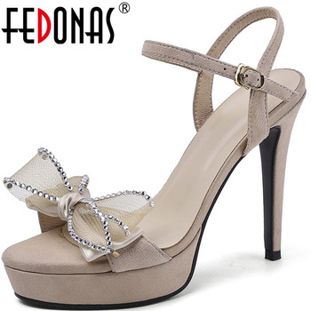 FEDONAS Women Pumps Butterfly Sandals Knot Rhinestone High Heeled Kid Suede Prom Shoes Summer Basic Design Concise Shoes Woman