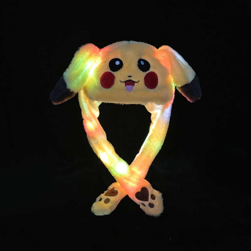 Kocozo Kawaii şapka hareketli kulaklar sevimli tavşan oyuncak şapka led ışık karikatür komik oyuncak şapka kızlar için kap çocuklar peluş oyuncak noel hediyesi