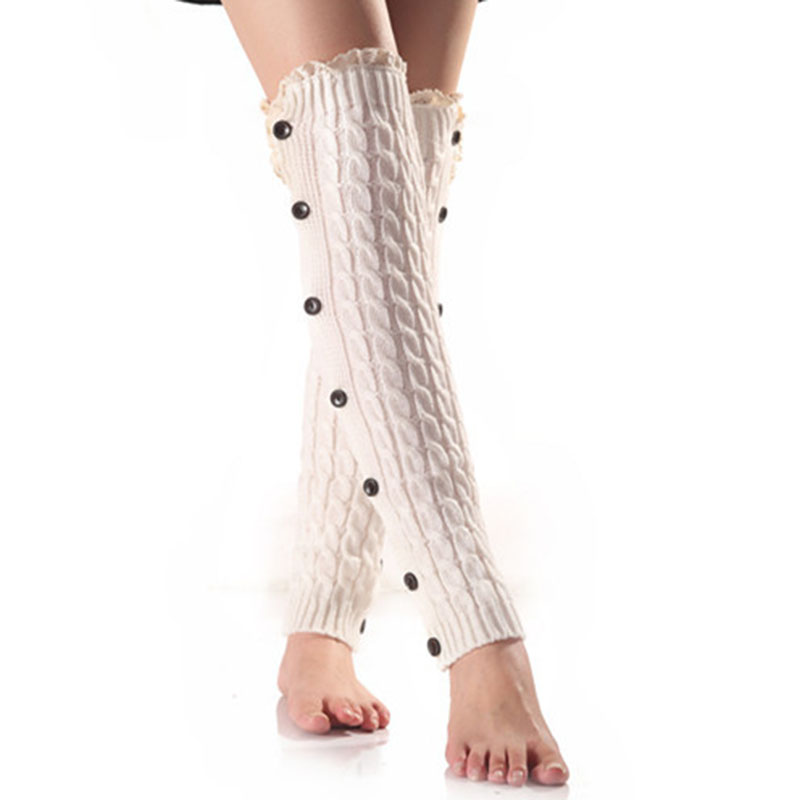 Winter Warm Woolen Knitting Knee Sleeve Solid Color Sexy Lace Twist Knit Elasticity Leggings Button Women Apparel