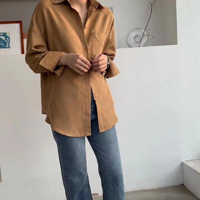 Turn Down Collar Long Sleeve Pocket Shirt 7