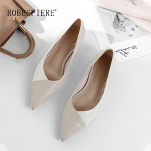ROBESPIERE Soft Genuine Leather Women Boat Shoes Mixed Colors Pointed Toe Flats Casual Low Heels Shallow Dress Shoes Woman A59 robespiere women pointed toe flats natural leather mixed colors ladies boat shoes 2019 autumn new slip on large size shoes a103