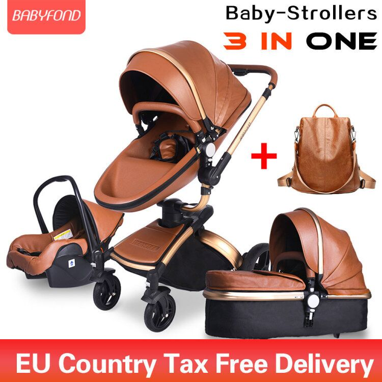 Brand newborn <font><b>pram</b></font> Babyfond <font><b>3</b></font> <font><b>in</b></font> <font><b>1</b></font> Luxury <font><b>baby</b></font> stroller PU leather two-way push 360 rotate <font><b>baby</b></font> car image