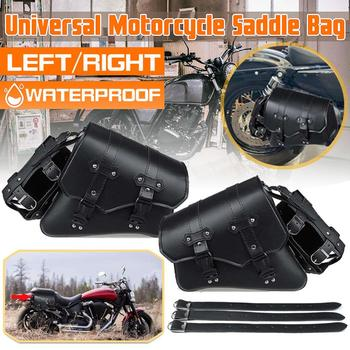 Classic Black PU Leather Motorcycle Saddle Bags Waterproof Motorbike Side Tool Tail Bag Luggage Pouch Universal Tank Bags osah drypak motorcycle waterproof tail bags multi functional durable rear motorcycle seat bag high capacity waterproof pvc bag