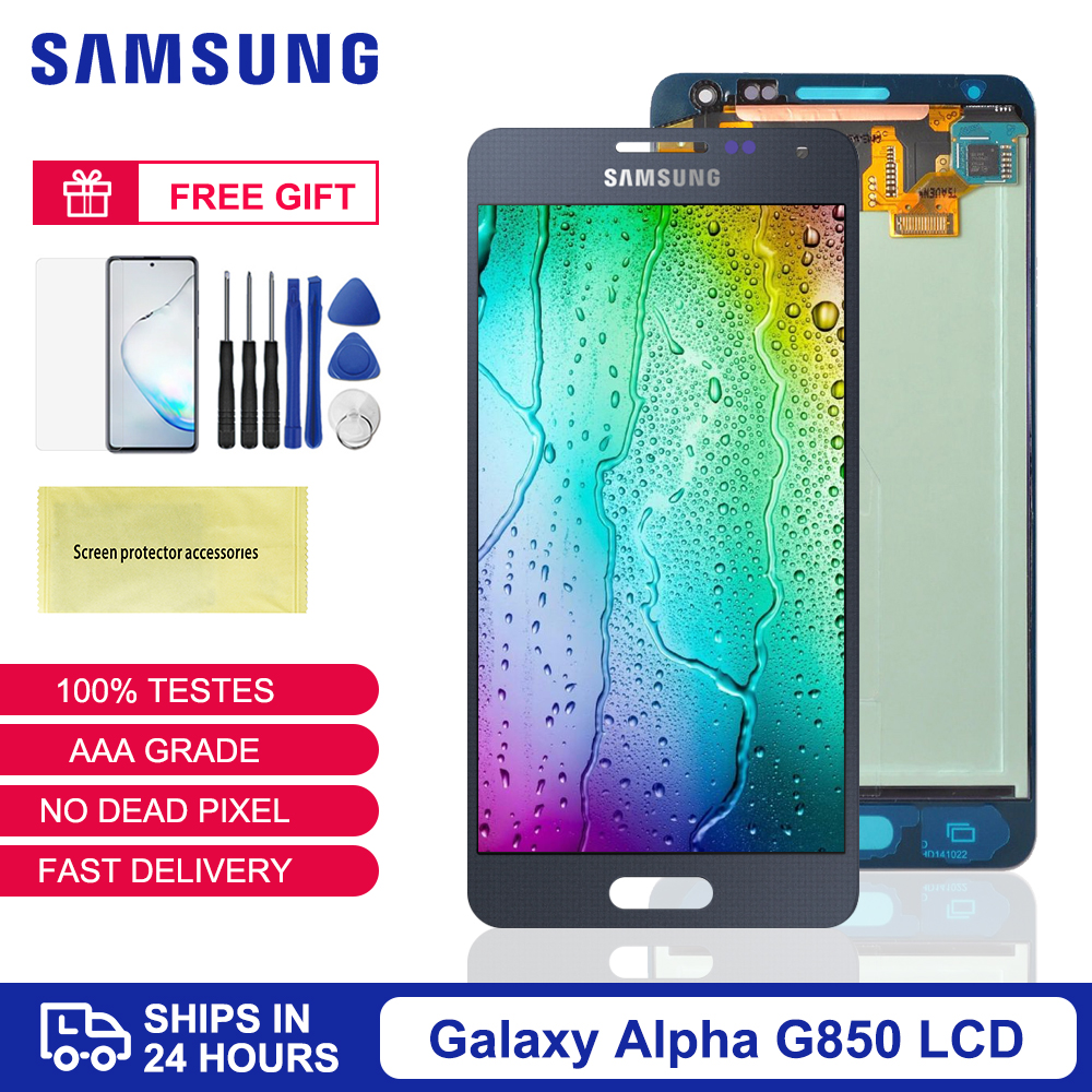 Original Super AMOLED For <font><b>Samsung</b></font> GALAXY Alpha <font><b>Note</b></font> <font><b>4</b></font> Mini <font><b>LCD</b></font> <font><b>Display</b></font> <font><b>Touch</b></font> <font><b>Screen</b></font> <font><b>Digitizer</b></font> G850 SM-G850F G850F G850M G850Y image