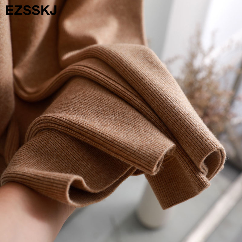 2019 autumn winter new THICK casual straight pants women female drawstring loose knitted wide leg pants casual Trousers 51
