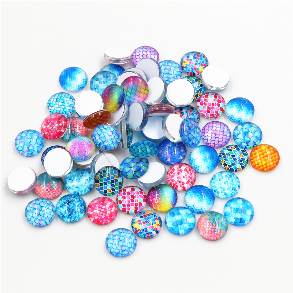 50pcs/Lot 12mm Photo Glass Cabochons Mixed Color Cabochons For Bracelet Earrings Necklace Bases Settings-E7-72