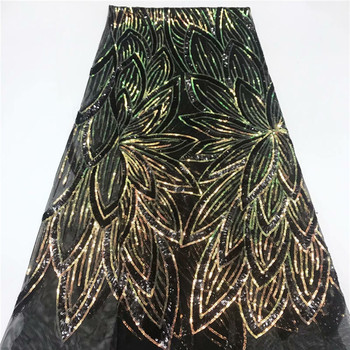 Beautiful black with sequins tulle cloth French net lace fabric for dress JNZ382(5yards/lot)