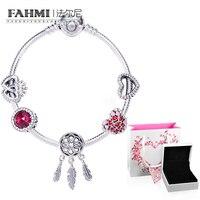 FAHMI 100% 925 Sterling Silver 1:1 Love Eternal Dream Catcher Series Colorful Dreams DIY Beaded Bracelet Set D5907776 Gift Box