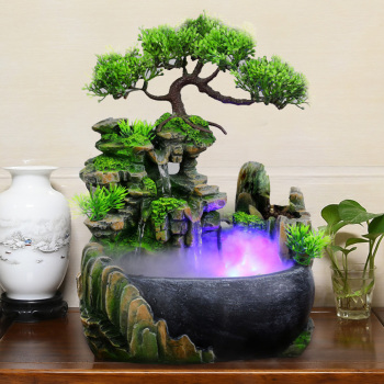 1PC Mini Desktop Fountain Waterfall Small Rockery Feng Shui Wheel Greenery Home Decoration Humidifier Desk Decoration Gifts 1
