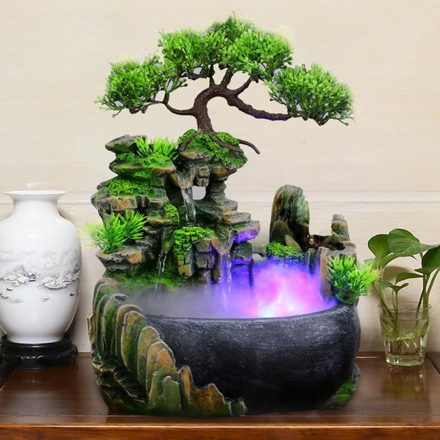1PC Mini Desktop Fountain Waterfall Small Rockery Feng Shui Wheel Greenery Home Decoration Humidifier Desk Decoration Gifts 1