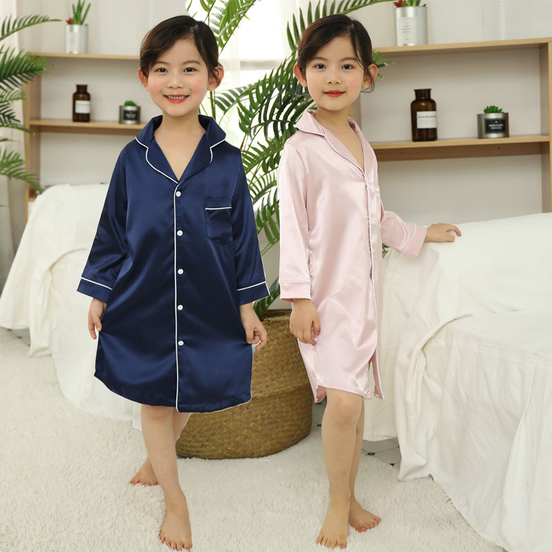 CHILDREN'S Bathrobes Autumn Korean-style Viscose Pajamas Imitated Silk Fabric GIRL'S Nightgown Long Sleeve Girls Tracksuit Paren