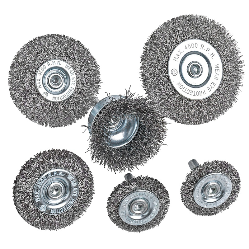 Top-6Piece Wire Wheel Cup Brush Set 0.0118In Coarse Crimped Steel 1/4In Round Shank For Drill