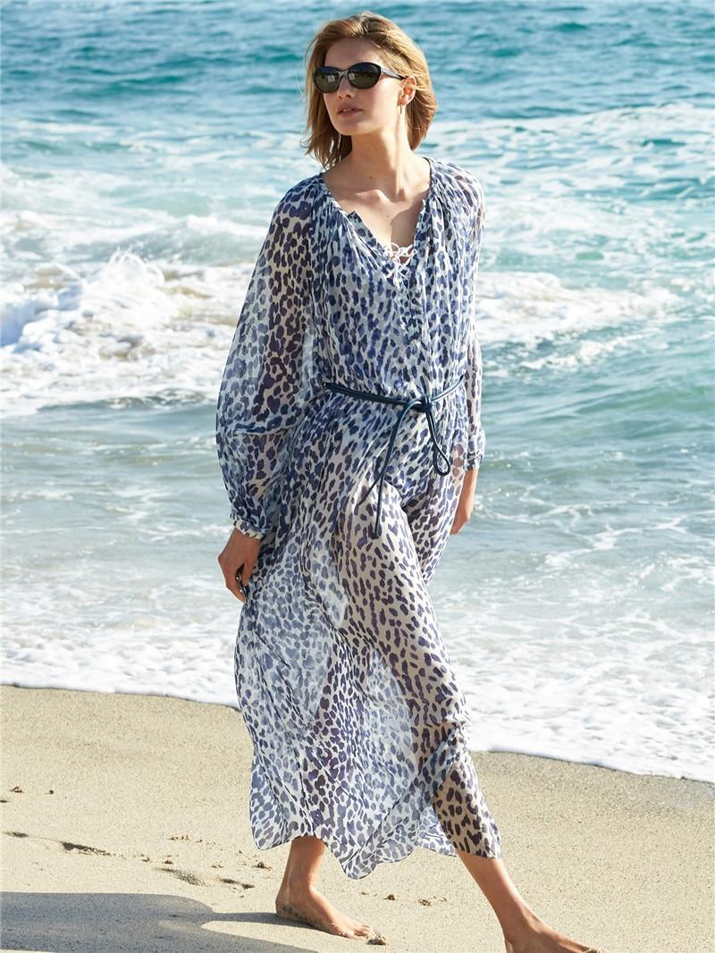 2019 New Style Europe And America Chiffon Printed Blue Leopard Dots Beach Skirt Holiday Skirt Bikini Outer Blouse Long Skirts