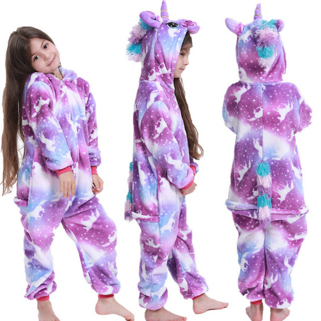 Flannel Unicorn for Kids Pajamas Boys Girls Sleepwear Children Panda Jumpsuit Kids oneises for Licorne Jumpsuit 2