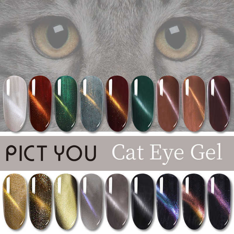1 Botol 5Ml PICT Anda Cat Eye Gel Rendam Off Payet UV Seni Kuku Gel Magnetic Nail Gel pernis