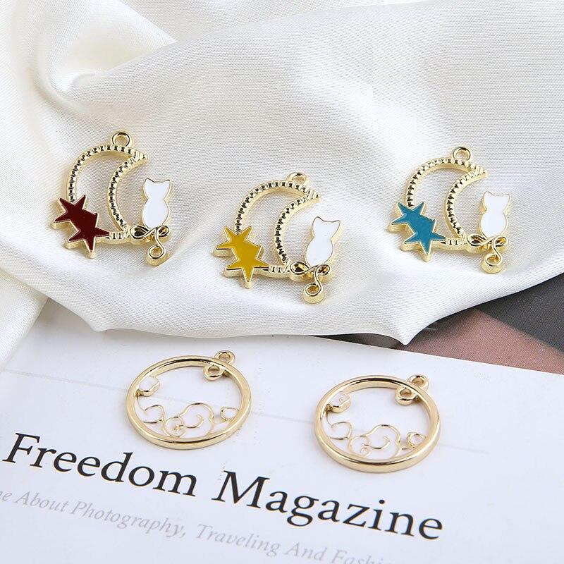 40pcs/Lot Hollow Out Kawai Cute Moon Star Cloud Pendant Fashion Fashion Women Earring Necklace Pendant Ornament DIY Accessories