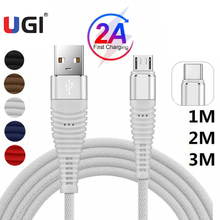UGI Fast Charge Cable Data Cable For Type C USB C Nylon Braided Data Transfer Cloth Quick Charge Micro USB Charger 2A White apple mjwt2zm a usb c charge cable 2 м white