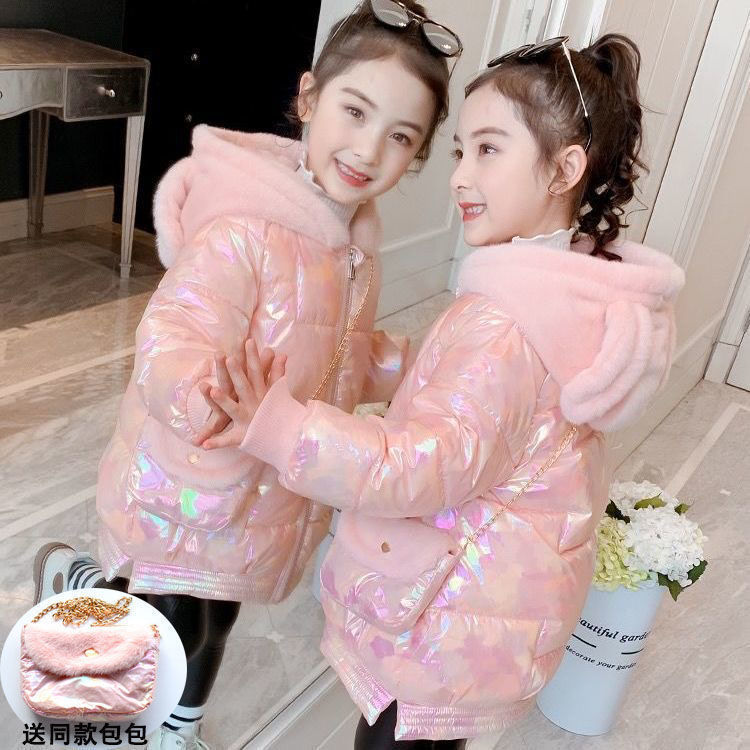 Girls Winter Coats Girl Bright Color Jacket with Bag Teen Warm Plus Velvet Parkas Kids Hooded Outwear Kids Windproof Clothing