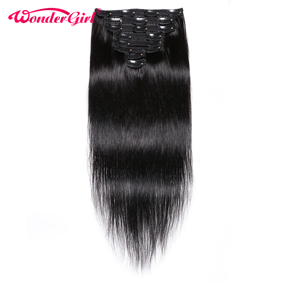 Clip In Human Hair Extensions 10 28inch Remy Brazilian Straight Hair Bundles 8Pcs/Set #1B #2 #4 Full Head 120gram Wonder girl
