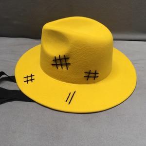 Image 5 - Sombrero de fieltro de lana para hombre y mujer, sombrero de fieltro de lana amarilla, de ala ancha, informal, negro, con cordones, para Otoño e Invierno