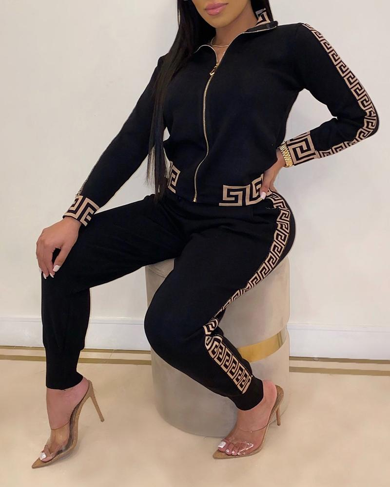 2020 Women Elegant Fashion Two -Pieces Suit Sets Female Stylish Plus Size Greek Fret Print Coat & Pant Sets 1