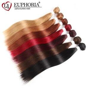Image 2 - Düz saç demetleri anlaşma 1/3 adet 99J kırmızı Burg 4 doğal renk brezilyalı Remy insan saç uzatma demetleri saç dokuma Euphoria