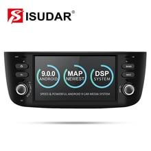 Isudar player multimídia automotivo, 1 din, android 9, para fiat/linea/punto 2012 2015, gps, dvd, automotivo rádio fm quad core dsp usb dvr,