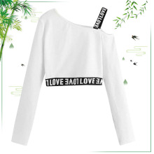 2019 Short Paragraph Navel Print Knit Long sleeve Summer Fashion Long-sleeved Shirt Women O Neck