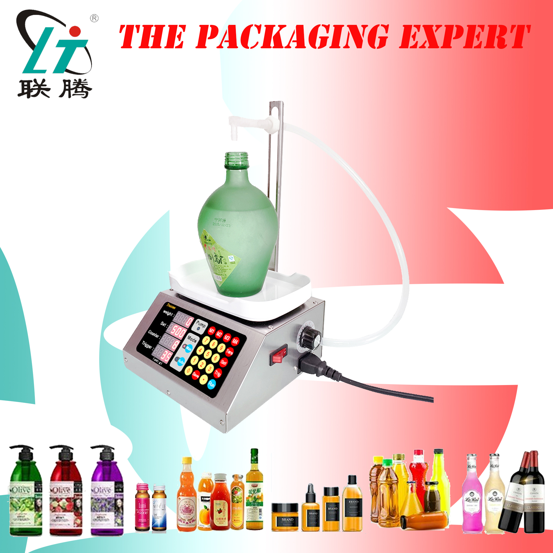 Weighing And Filling Machine Electronic Scale Liquid Filler Water Drink Wine Juice 10ml-3000ml Diaphragm Pump Free Shipping