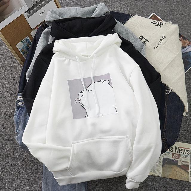 Hoodies oversized print Kangaroo Pocket Sweatshirts Hooded Harajuku winter Casual Vintage Korean Pullovers Women sweatshirts 1