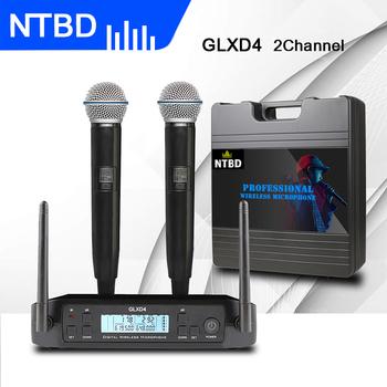 NTBD występ na scenie strona główna KTV Party Show Rap GLXD4 profesjonalny podwójny bezprzewodowy system mikrofonowy dynamiczny 2 kanałowy 2 ręczny tanie i dobre opinie NTBD-pro Handheld Microphone Dynamic Microphone Karaoke Microphone Wielu Mikrofon Zestawy Kardioidalna wireless