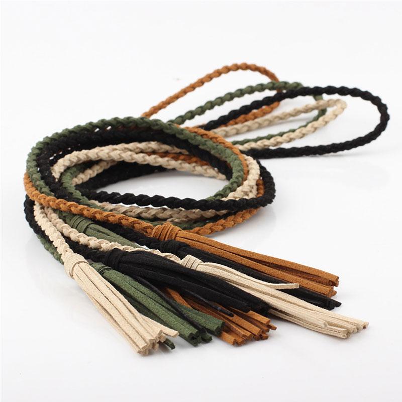 2020 Women Woven Tassel Belt Braided waistband Boho Girls Thin Waist Rope Knitted waist Belts For Dress Waistbands Accessories
