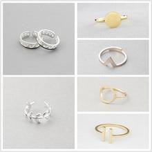 blagues 注ぐ ファッション幾何指輪女性調節可能なラウンド三角形指リングミニマ宝石