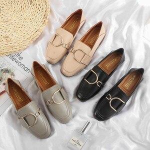 Image 1 - מקסי גודל 41 42 נעלי אישה פרדות מוקסינים נקבה להחליק על מתכת אבזם אפונת ופרס עור מפוצל אמא אחות קריירה משרד דירות