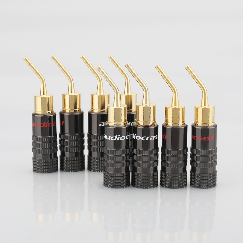 8PCS Audiocrast 2mm Banana Plug Gold Plated Speaker Cable Pin Angel Wire Screws Lock Connector For Musical HiFi Audio