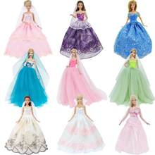 Handmade Wedding Dress Princess Evening Party Ball Long Gown Skirt Bridal Veil Clothes For Barbie Doll Accessories xMas DIY Toy(China)