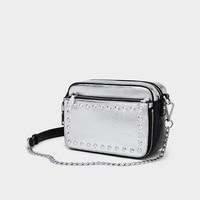 Women Handbag Silver Trendy High Quality Camera Chain Small Square Crossbody Bag Luxury Designer Rivet Shoulder Messenger Bag