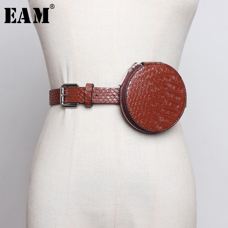 [EAM]  Pu Leather Black Mini-bag Split Joint Long Belt Personality Women New Fashion Tide All-match Spring Autumn 2020 1H360