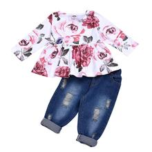 2019 Toddler Girl Spring Autumn clothing Floral Long sleeve tops +Jeans kids 2PCS Girls Boutique Clothing