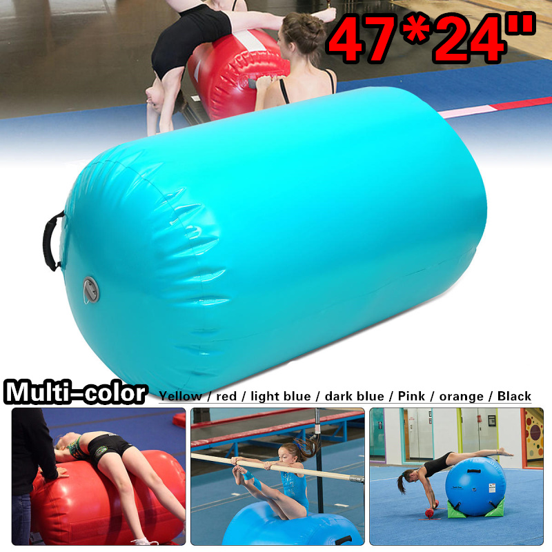 MZQM AirTrack Inflatable Gymnastics Gym Air Mat Floor Home Gymnastics Exercise Inverted Backflip Round Column Tumbling Mat