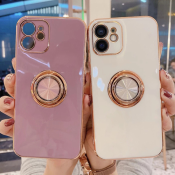 Soft Plating Ring Holder Phone Case For iPhone 12 11 Pro Max 12Mini XS Max XR X 7 8 Plus SE 2020 12Pro 11 Shockproof Stand Cover 1
