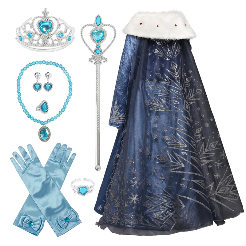 Frozen 2 Cosplay Costume Kids Queen Elsa Anna Fancy Dress Girls Festival Outfit