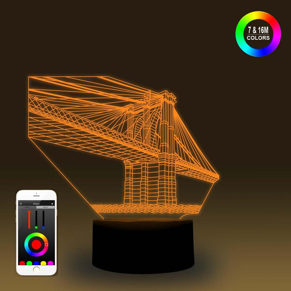 NiteApps 3D Golden Bridge Night Light Desk Table Illusion Decoration Lamp Holiday Birthday Gift APP/Touch Control