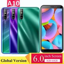 Telefones celulares a10 4gb ram 32gb/64gb rom telefones mtk6580 quad core face id desbloqueado a10 smartphone 6.0 polegada tela 5mp + 13mp câmera