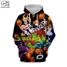 Men Cartoon anime bugs Bunny basketball 3d hoodies Sweatshirt zipper looney tunes print women casual Pullover couples streetwear