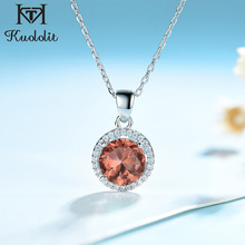 Kuololit Zultanite Gemstone Pendant For Women Solid 925 Sterling Silver Round Necklace with Chain Wedding Bridal Fine Jewelry