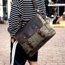 Waxed Canvas Messenger Bag School Laotop Handbags Crossbody Bags For Men 2020 high quality designer shoulder bag vintage
